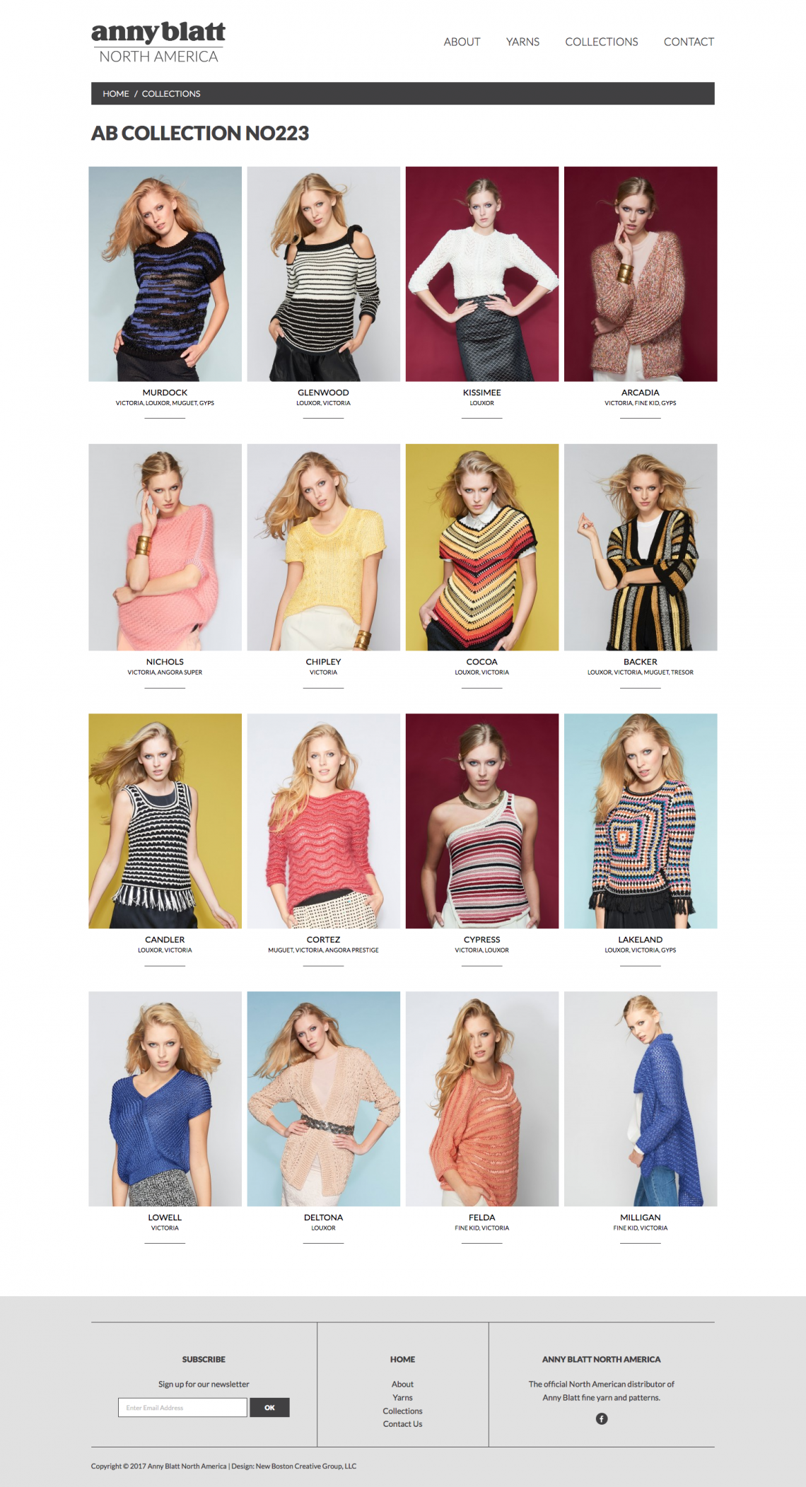 Pattern Collection page on Anny Blatt North America's website