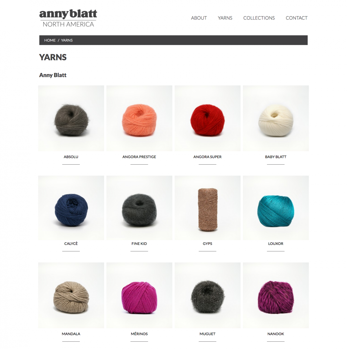 Yarn Page on the Anny Blatt North America website